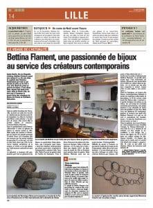 Article Bettina Flament Voix du Nord 24 décembre 2013